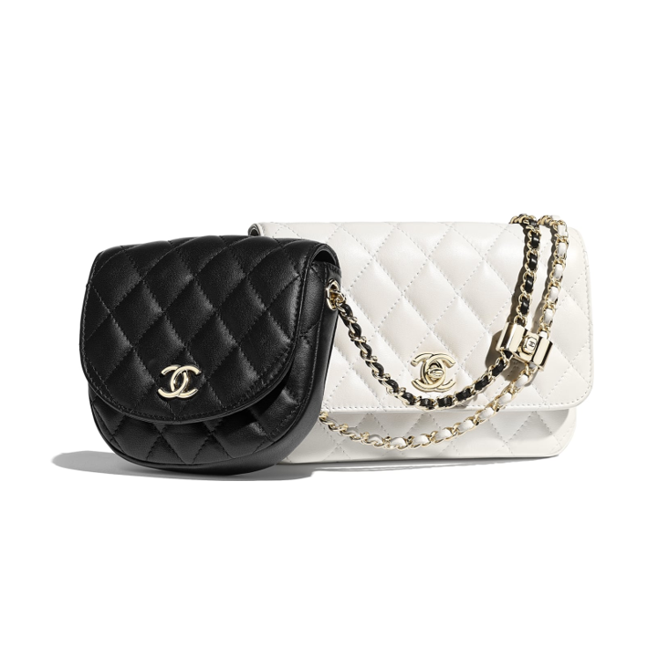 Chanel handbags side packs black and white
