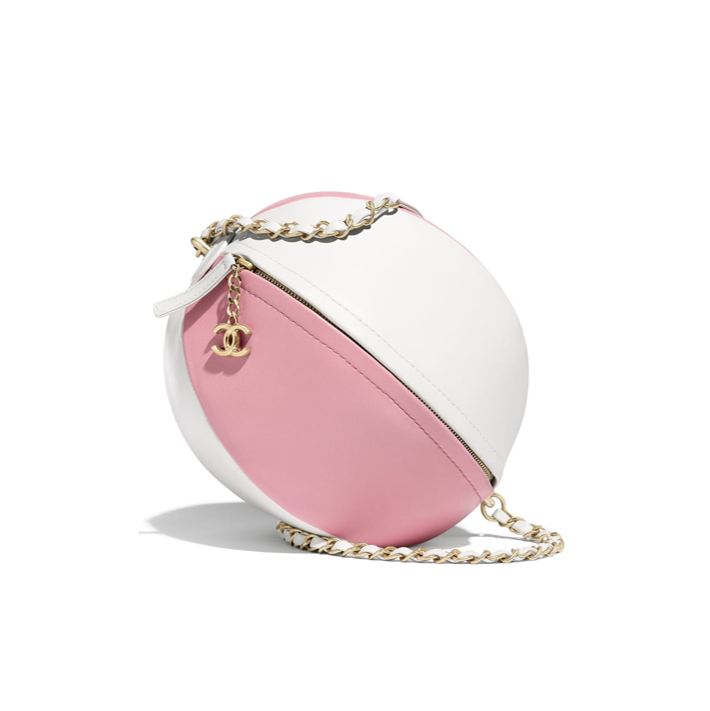 Beach ball Chanel bag pink and white summer 2019