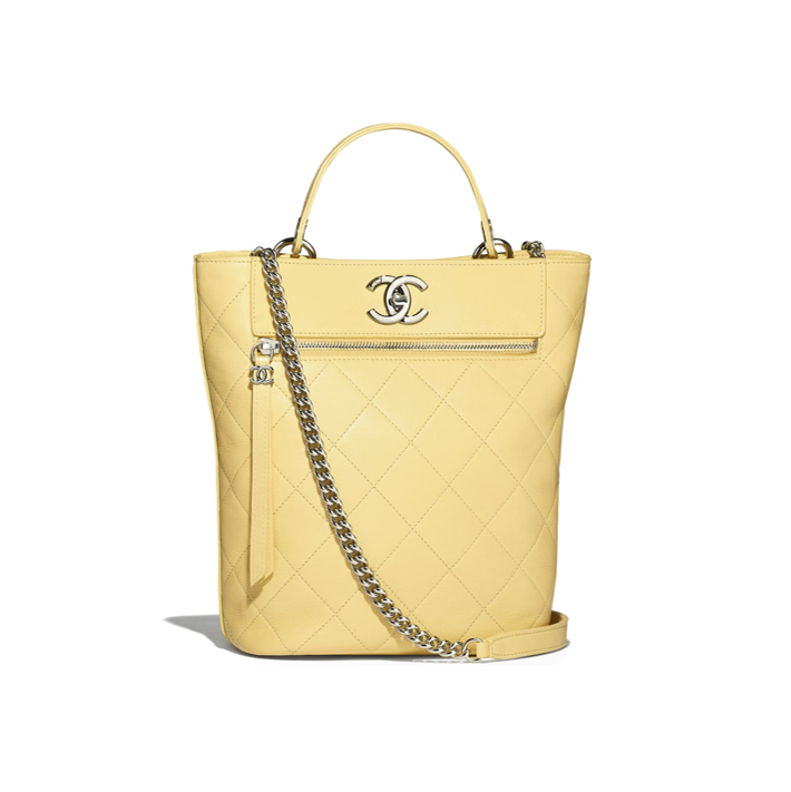 Yellow Chanel bucket bag summer collection 2019