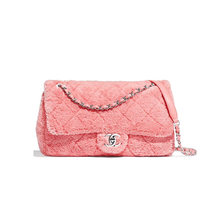 Terry cloth Chanel flap bag in coral pink