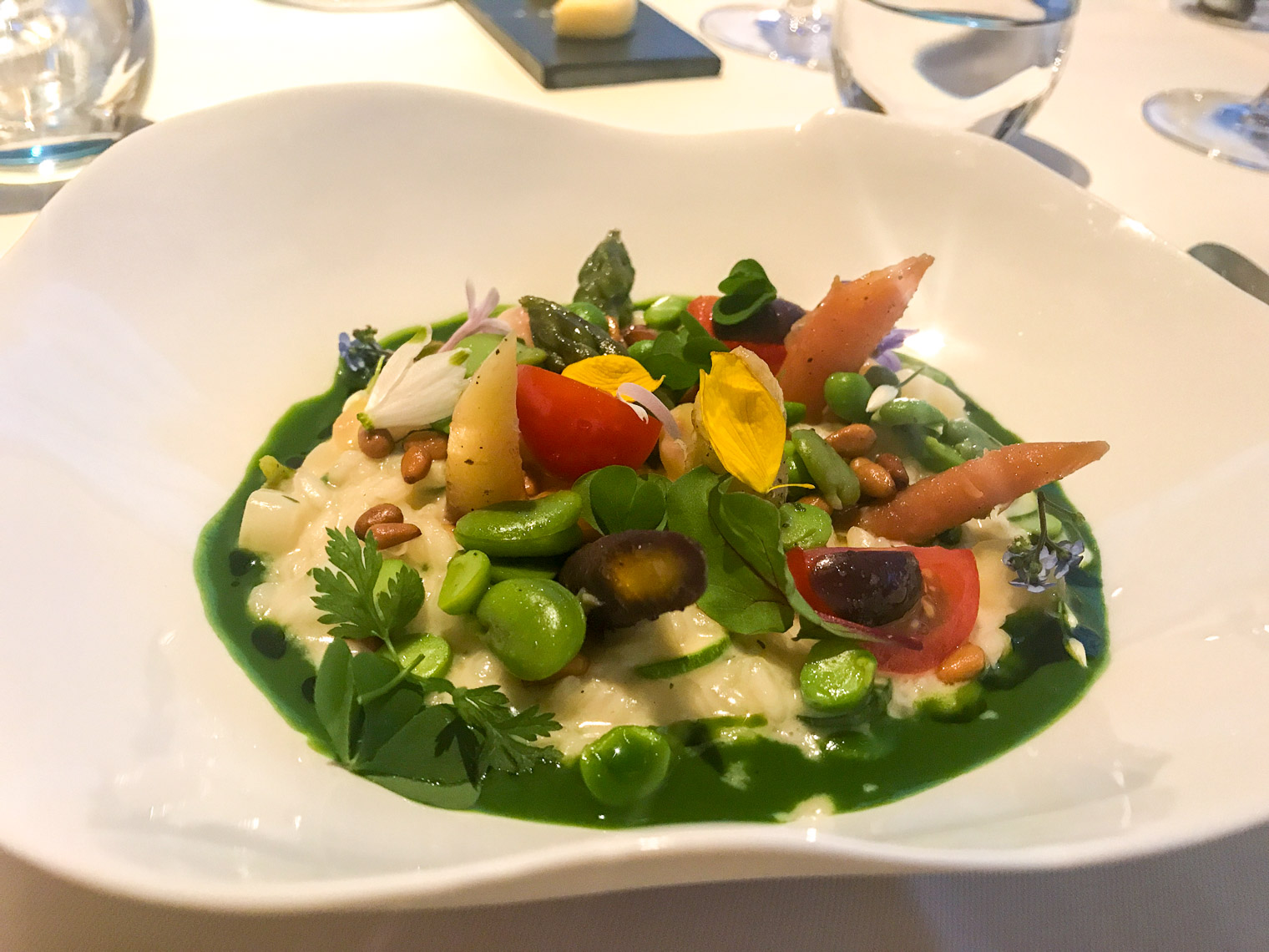 Vegetable risotto at Raymond Blanc restaurant in Oxfordshire