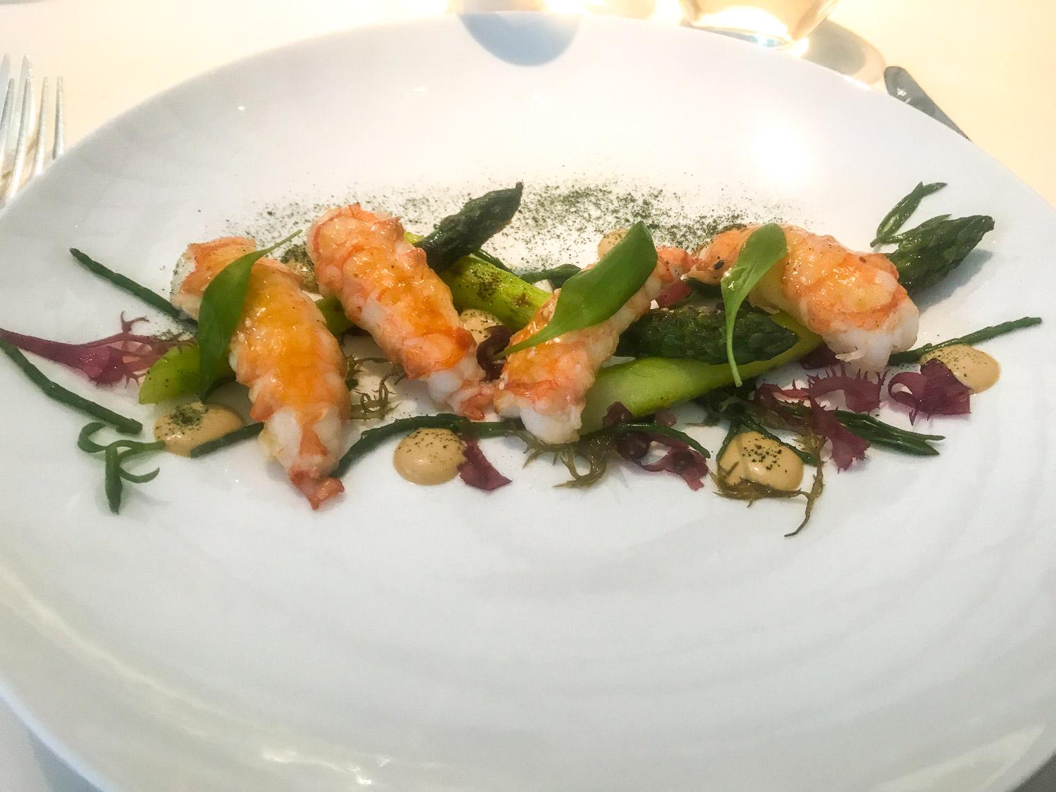 Langoustines with asparagus at Belmond Le Manoir restaurant Oxfordshire
