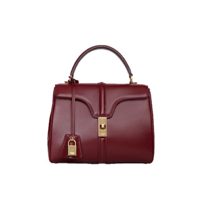 Celine top handle bag burgundy