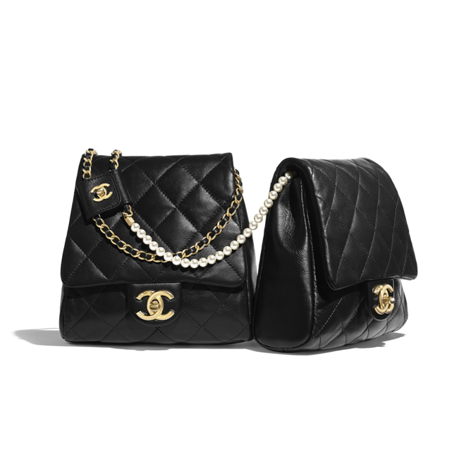 Chanel side packs black with pearls