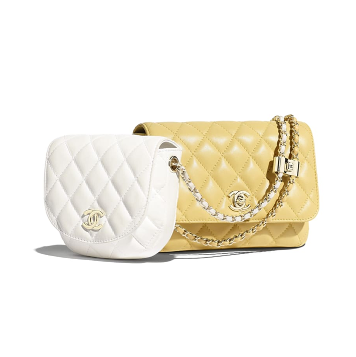 Chanel handbags Chanel side packs white and yellow