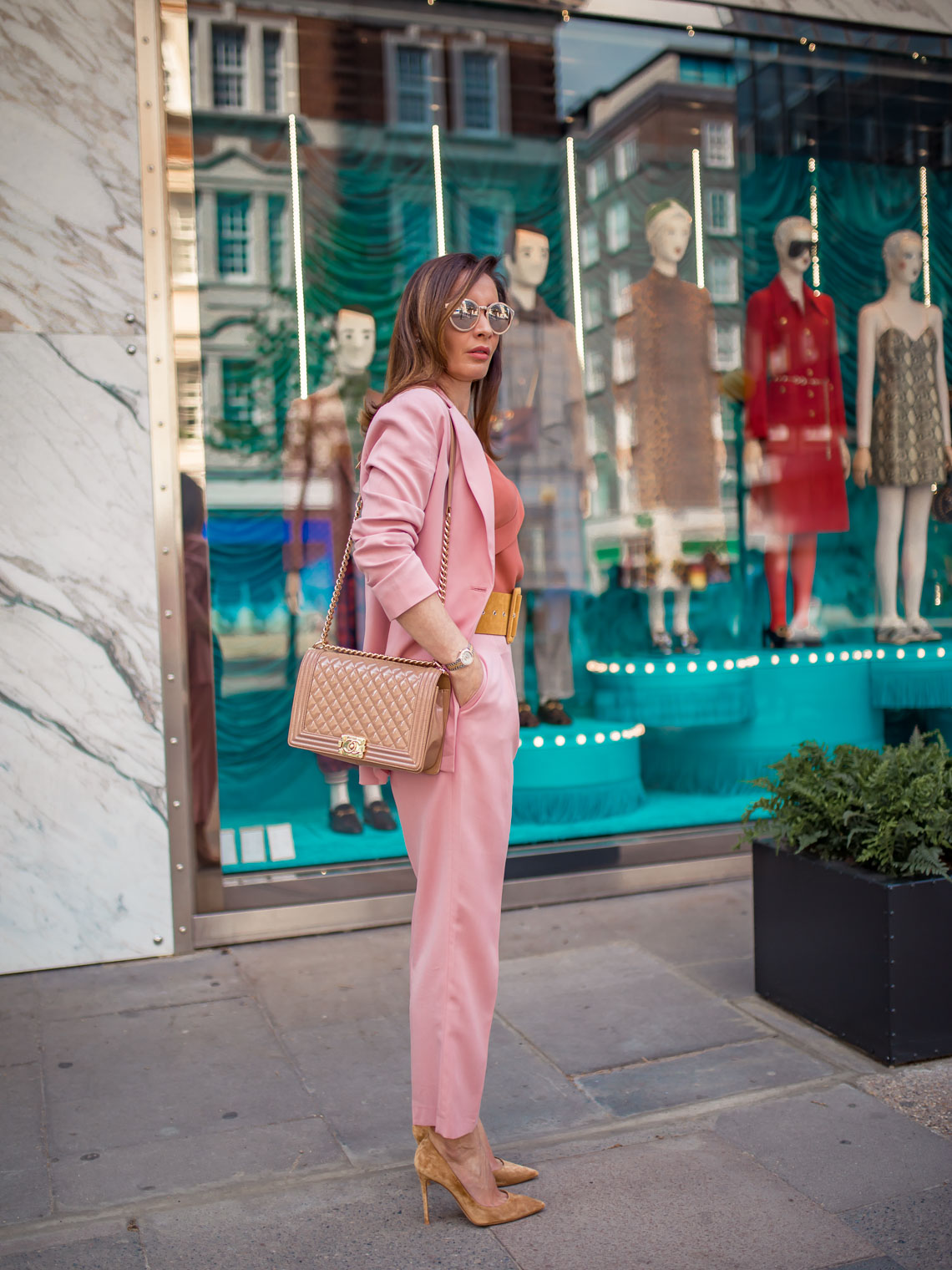 Colourful suits Iris and Ink, Gianvito Rossi pumps, Chanel boy bag