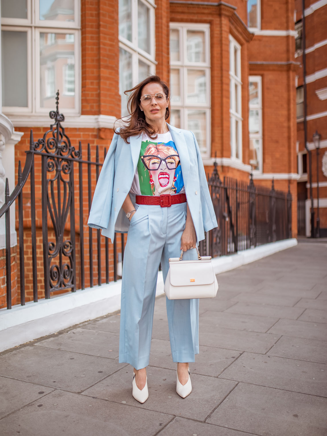Why to get colourful suits this season, Sandro blue suit, white slingbacks, White Dolce Gabbana Sicily bag