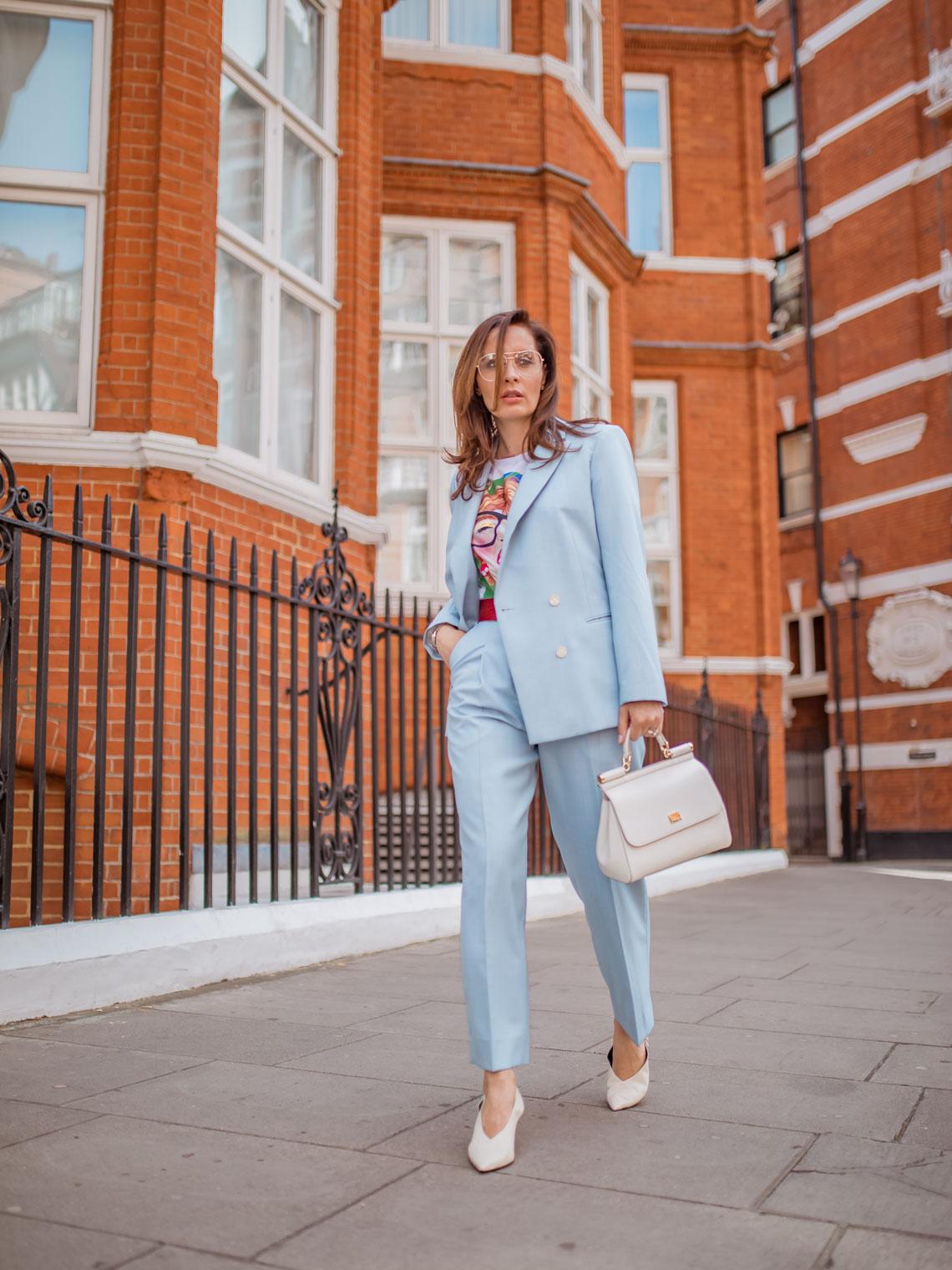 Sandro blue suit, Mercedes Castillo white slingbacks, White Dolce Gabbana Sicily bag