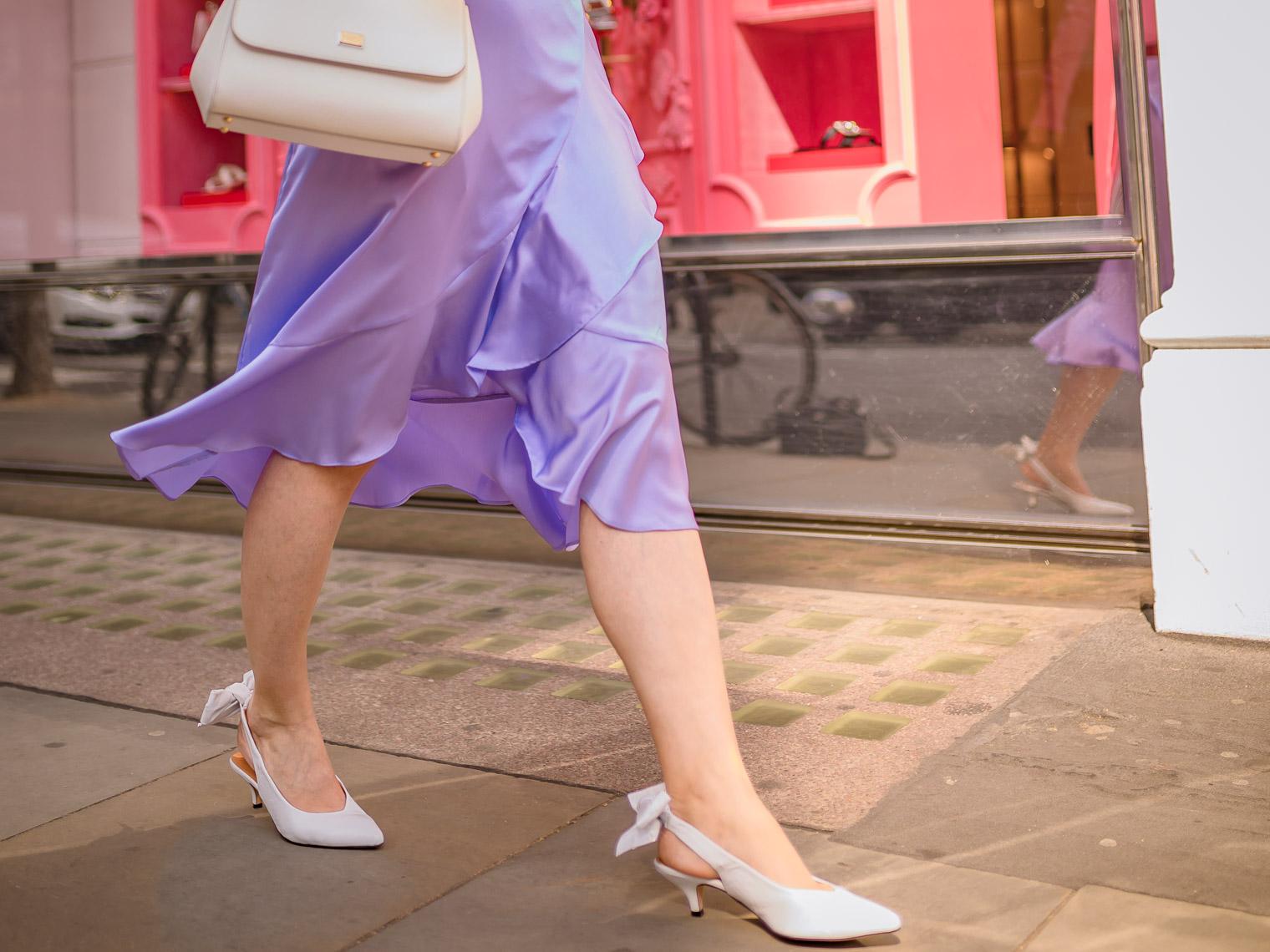 White Ganni slingbacks shoes Dolce Gabbana white Sicily bag