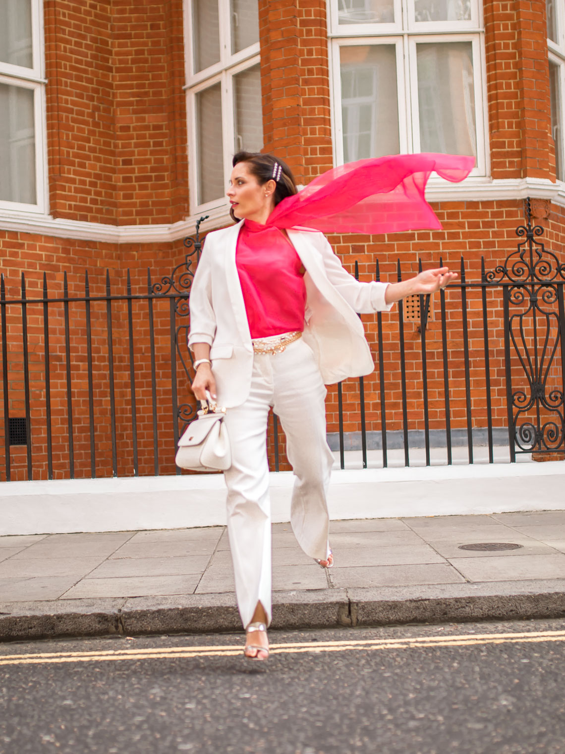 Why to buy colourful suits, white suit, pink blouse and Dolce Gabbana Medium Sicily bag