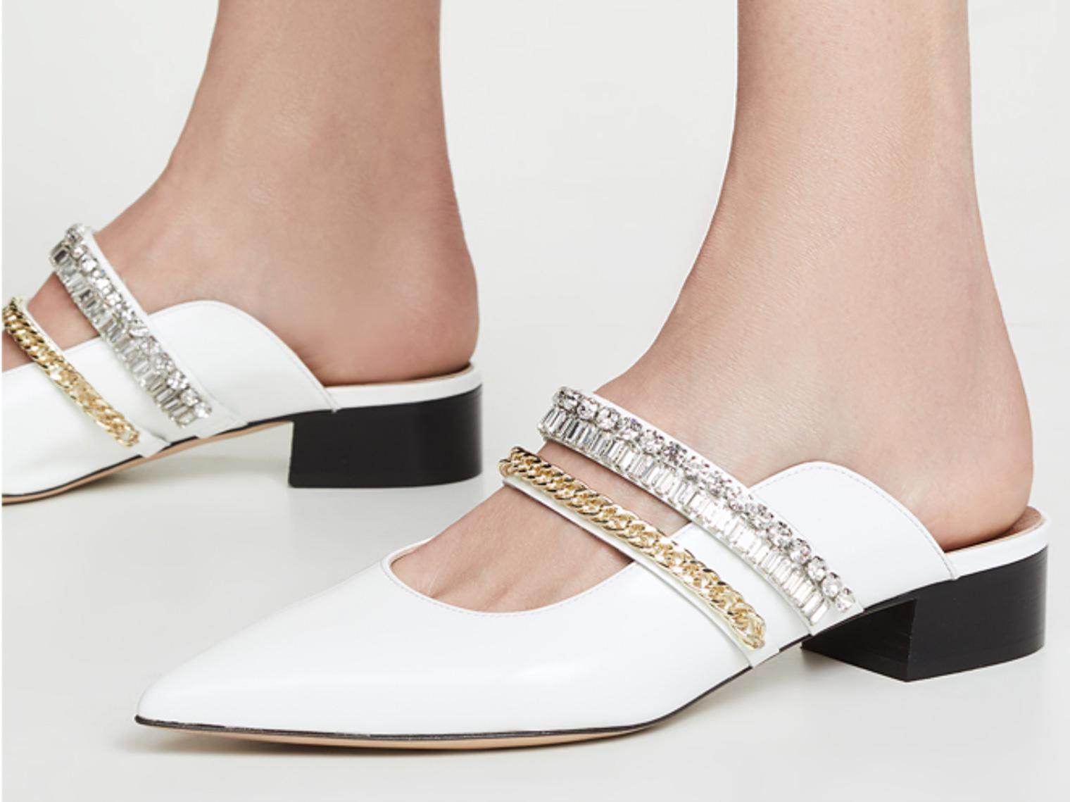 White flat shoes Slef-Portrait