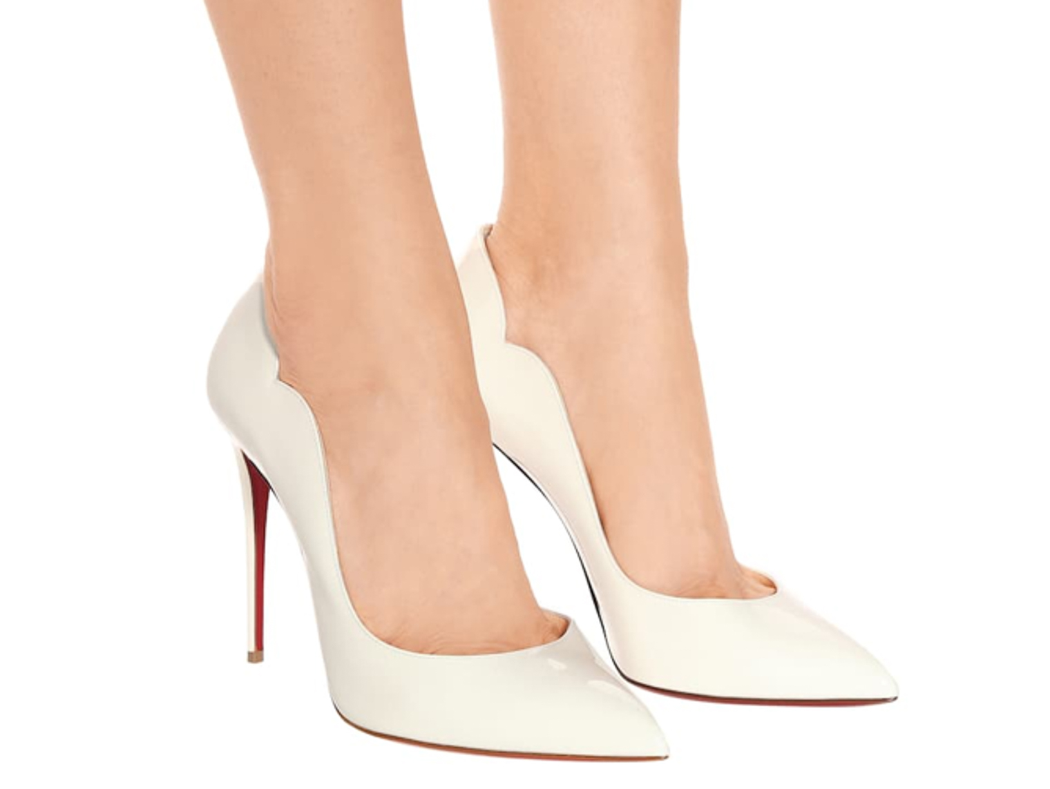 White Christian Louboutin pumps high heel