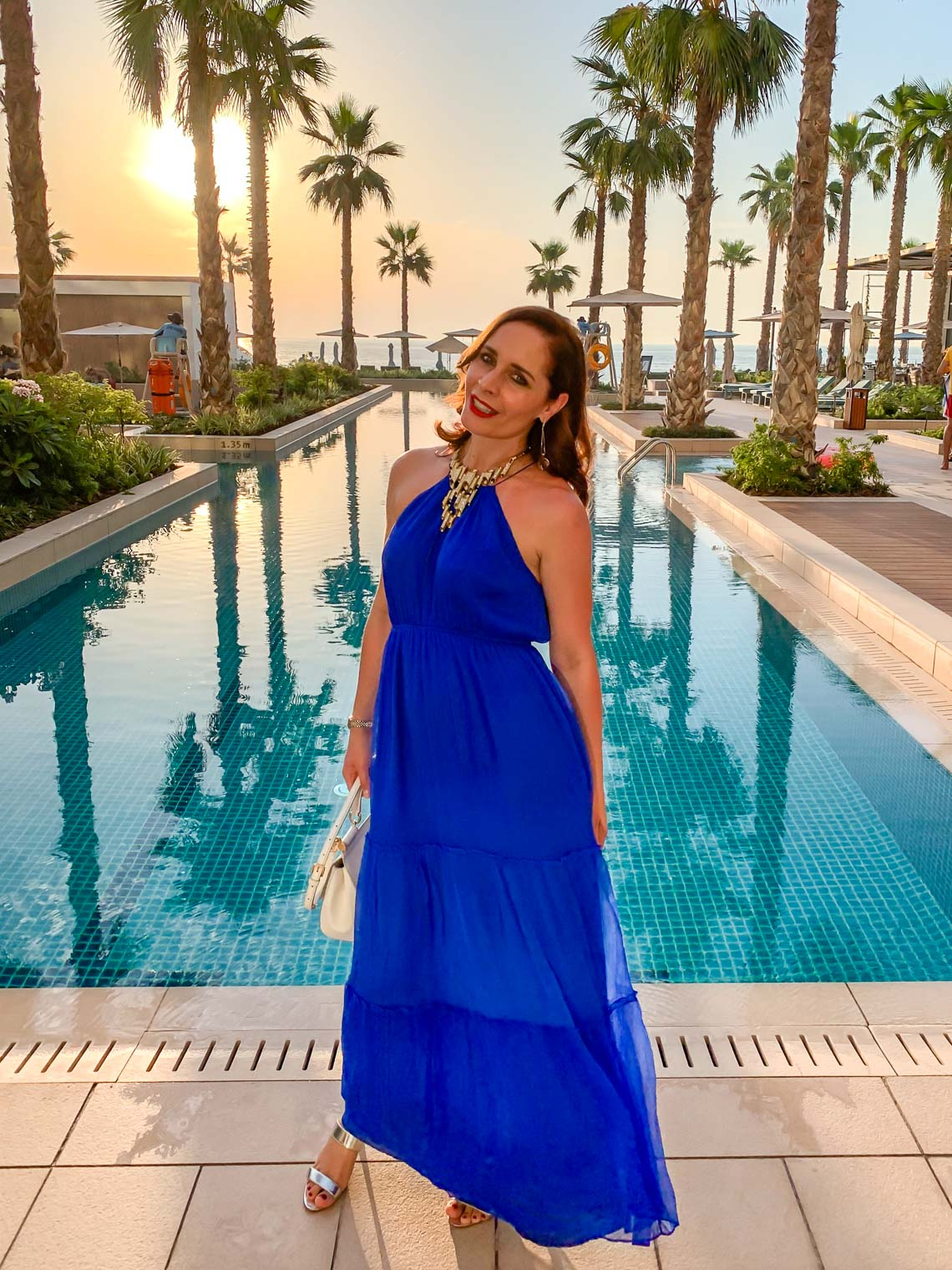 BB Dakota royal blue maxi dress, Mandarin Oriental Jumeira Dubai in sunset