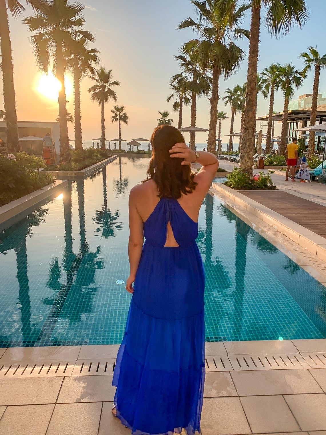 Petra Brisby in BB Dakota blue halter neck maxi dress at Mandarin Oriental Jumeira Dubai