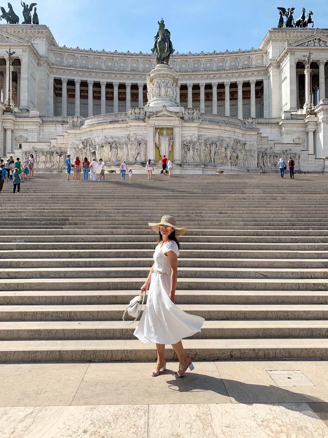 White Mango midi dress, Rome landmark