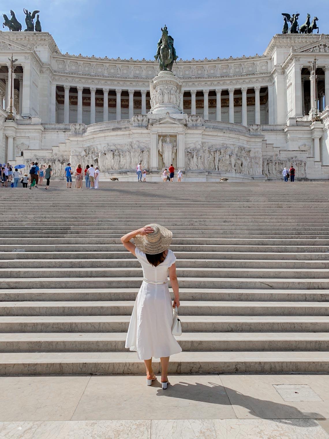Petra Brisby in white midi dress by Mango, Rome Italy