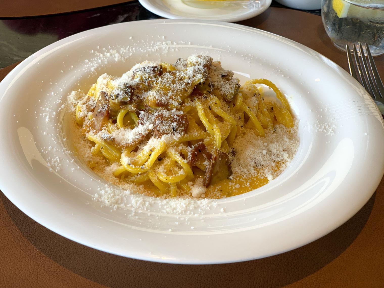 Lunch Spaghettoni Carbonara at Hotel Eden Rome Dorchester Collection