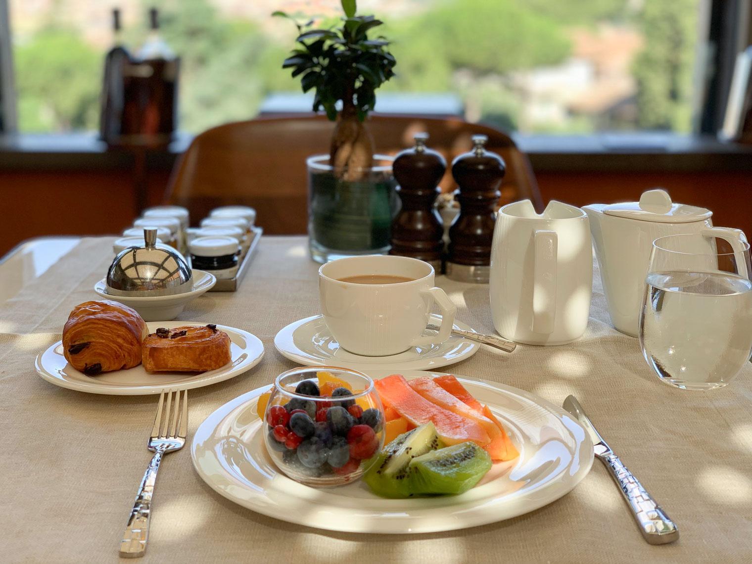 Breakfast at Il Giardino restaurant Hotel Eden Rome