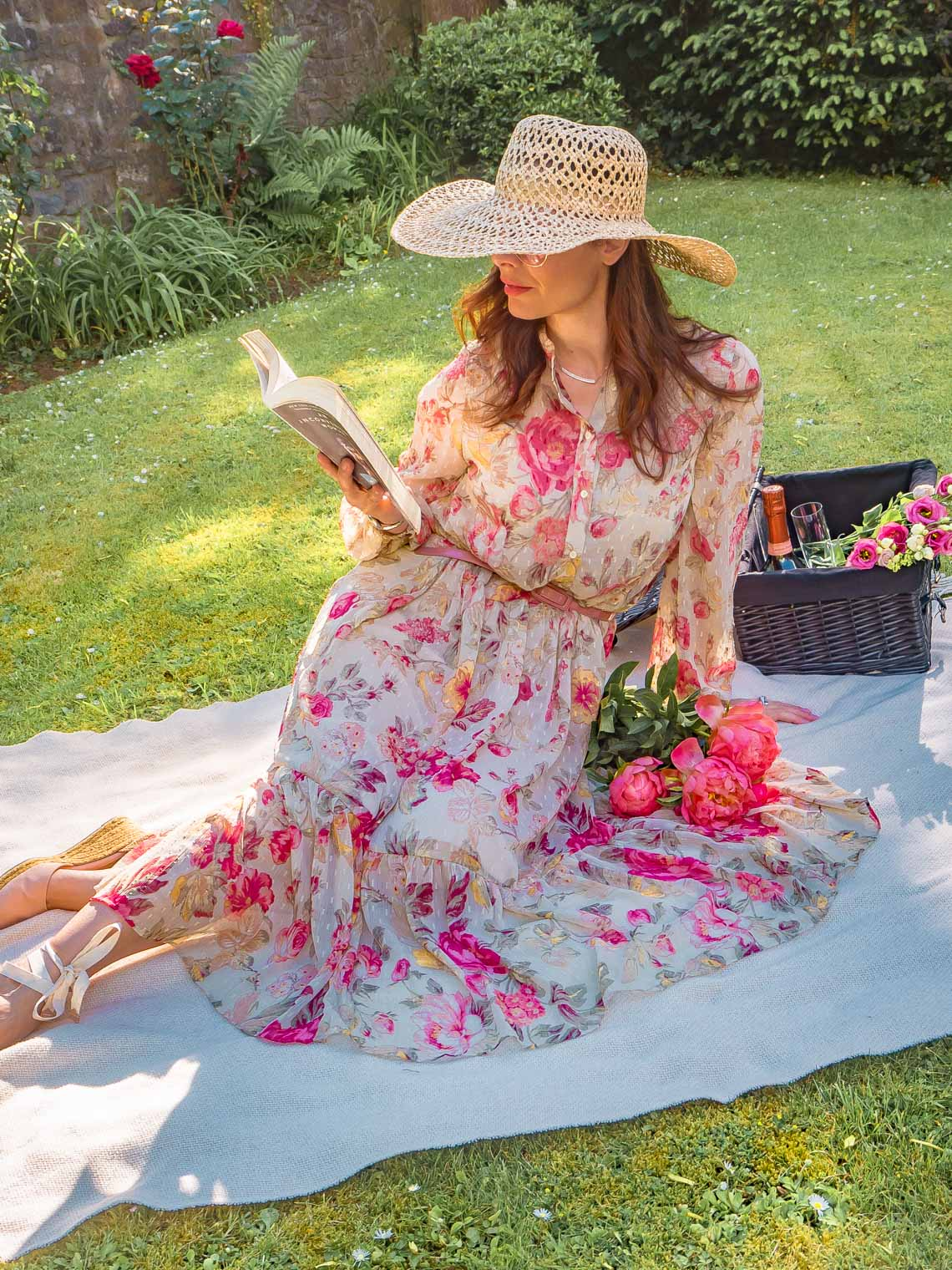 Long H&M floral dress, pink peonies, Castaner espadrilles