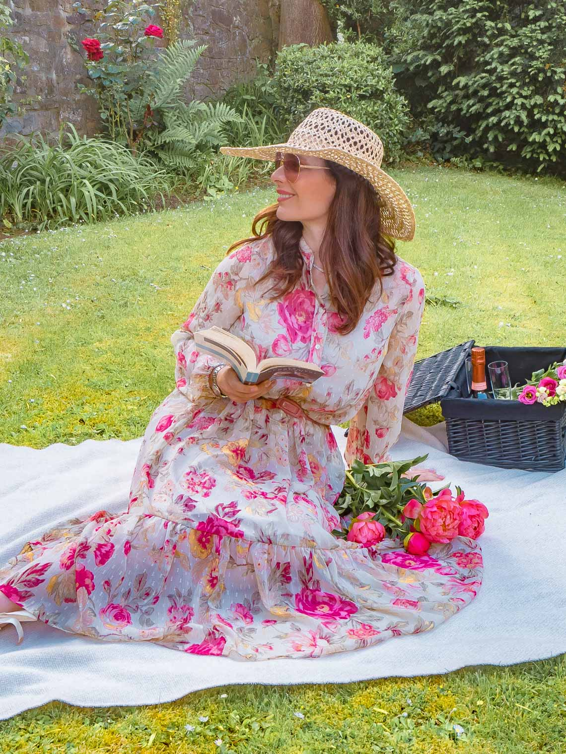 H&M floral dress, picnic in the garden