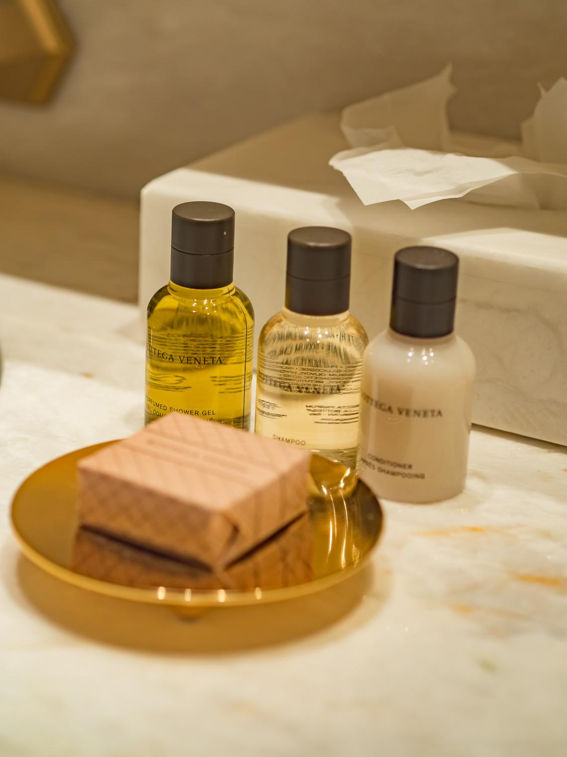 Bottega Veneta shower gel at Hotel Eden Rome