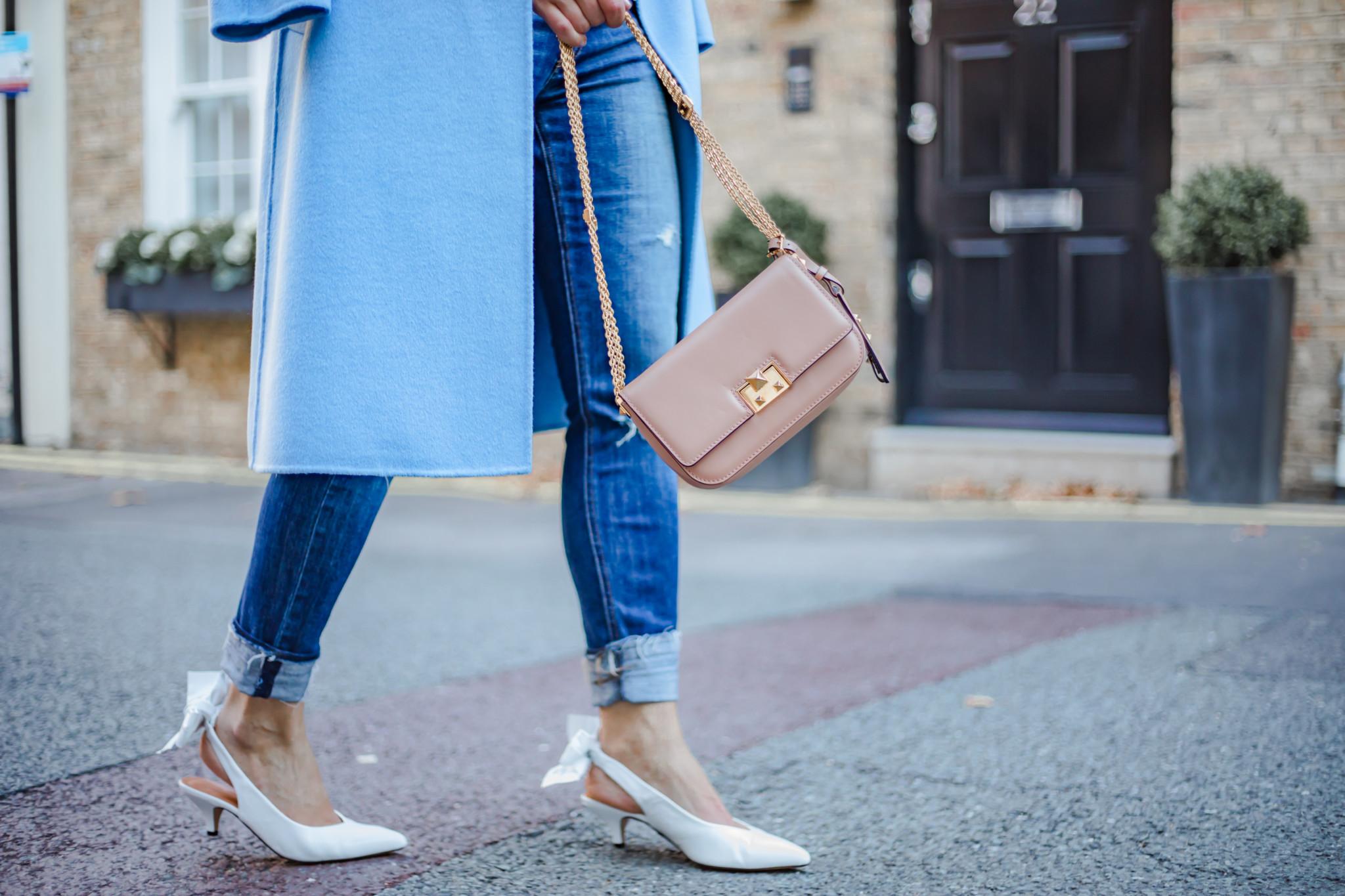 White slingback shoes, Valentino Rockstud bag