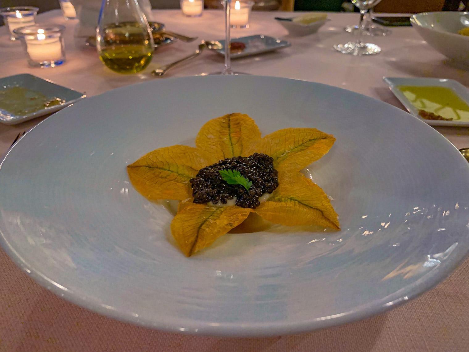 Fried Zucchini Flower with Caviar
