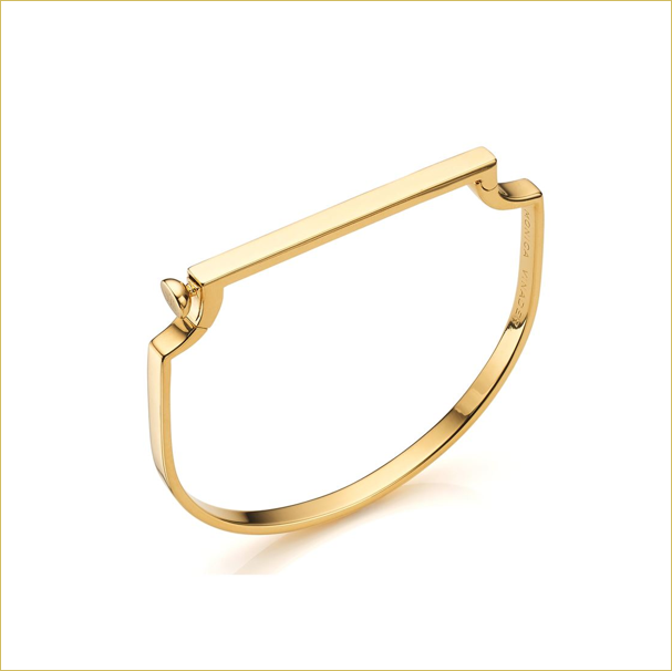 Monica Vinader signature thin bangle in gold
